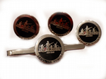 WW1 Lest We Forget Poppy Rememberance Cufflinks, Badge, Tie Clip Gift Set